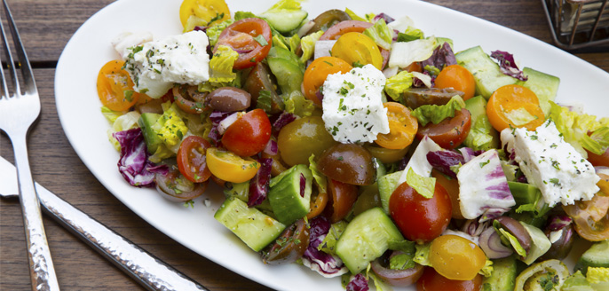 Family-style greek lunch salad